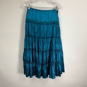 Teal Blue Tiered Crinkle Satin Midi Skirt Medium